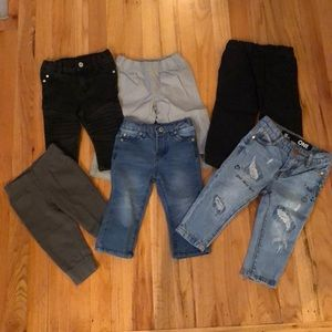 6 pairs of boys sz 12mo pants & jeans